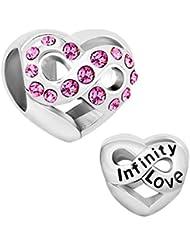 Heart Love Infinity Charms Sale Cheap Jewelry Pink Birthstone Crystal Beads Fit Pandora Charm Bracelet