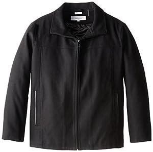 Perry Ellis Men's Big Melton Wool Jacket, Black, 3X