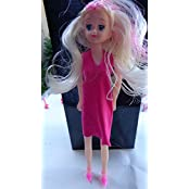 """Pretty Girl Doll 12"""" Tall With Pink Dress And High Heel Shoes Long Blond And Pink Hair Free Shipping"""