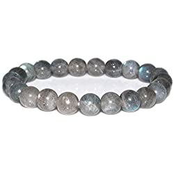 "Natural A Grade Labradorite Gemstone 8mm Round Beads Stretch Bracelet 7"" Unisex"