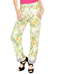 Fashion205 Green And White Printed European Crepe Trouser - B00ZP58DWW