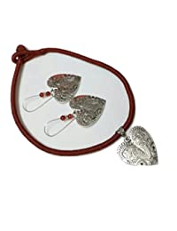 Beads And Buttons Multicolor/Multicolour Matching Handmade Brown Cotton Thread Choker / Necklace Set For Women...