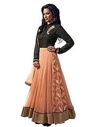 Fashion Khazana Peach And Black Handwork Designer Anarkali Suit