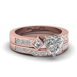Fascinating Diamonds Box Grid Channel Bridal Engagement Rings Set 1.35 Ct Heart Shape Diamond VS1 14K GIA