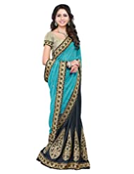 Lookslady Embroidered Light Blue & Grey Faux Georgette Heavy Border Saree