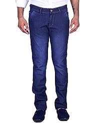 Aragon Blue Row Wash Slim Fit Stretch Jeans For Men
