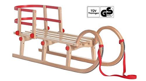 Impag® Klappschlitten mit Zuggurt und Lehne Rot Tatry 115 cm