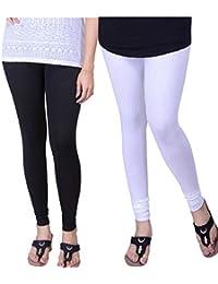 BONITO Women's Cotton Churidar Leggings Combo (Pack Of 2 White & Black) - Free Size