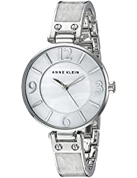 Anne Klein Women's AK/2211WTSV Silver-Tone And White Marbleized Bangle Watch