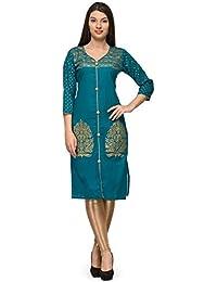 Aadhunik Libaas Rama Green Cotton Printed Kurta Long Top For Women Girls