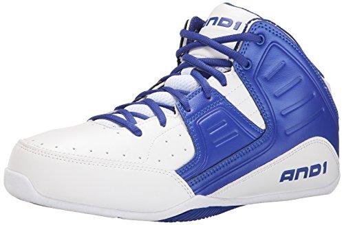 AND1 ROCKET 4 MID - Zapatos de baloncesto de material sintético hombre, color blanco, talla 40.5