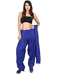 GAURANGI New Women's Blue Plain Cotton Patiala Salwar With Dupatta Set- Free Size