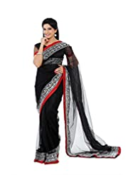 Designersareez Women Net Embroidered Black Saree With Unstitched Blouse(1321)