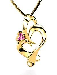 Voylla Yellow Gold Tone Heart Pendant