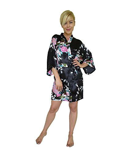 Women's Kimono Satin Robe, Peacock Design, Short