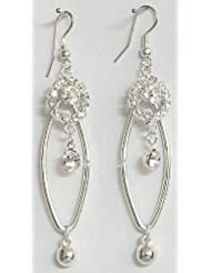 DollsofIndia White Stone Studded Earring - Stone And Metal - Silver Color, White