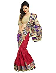 Alethia Red & Cream Bhagalpuri Silk Casual Embroidered Sarees With Unstitched Blouse