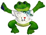 Plush Frog Toy in t-shirt with I Heart Q. P. (Initials)