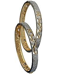 RETTOL American Diamond Pair Of Bangles Set For Women''s