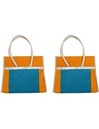 Cristal Bags Jute Green Shopping Bags (Pack Of 2, Jute-502)