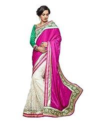 Sareez Off White & Pink Color Velvet & Net Saree.
