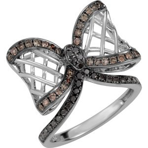 Genuine IceCarats Designer Jewelry Gift 14K White Gold 5/8Ctw Dia Bl& Wh Rng W/Blk Rh. Size 7.00 5/8Ctw Dia Bl& Wh Rng W/Blk Rh In 14K White Gold Size 7.00