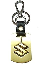 City Choice Beautiful Suzuki Alloy & Leather Car&Bike Keychain Locking Hook Keyring (Golden)