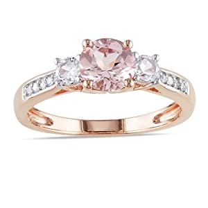 Delightful Diamond and Morganite Cheap Engagement Ring 1.00 Carat Diamond on Gold