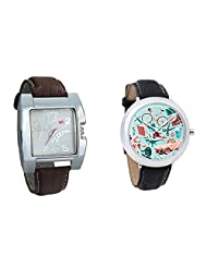 Gledati Men's White Dial & Foster's Women's Multicolour Dial Analog Watch Combo_ADCOMB0002267
