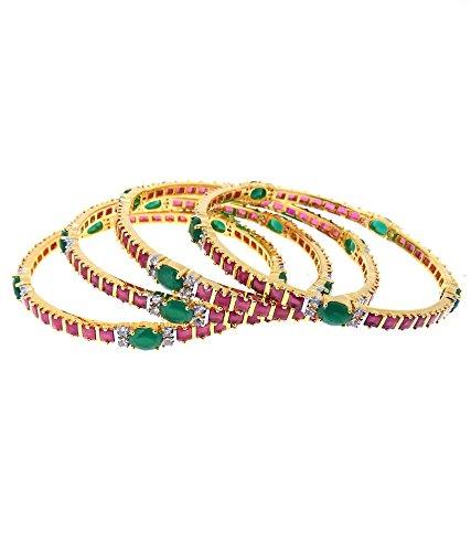 Aabhushan Jewels Ruby & Emerald Look Gold Plated American Diamond Bangles For Women - B00WUE8MA4