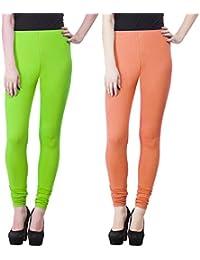 SPK Impact Women`s RUBY-CUT PARROT-PEACH Cotton Lycra Fitt Leggings
