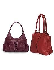 Arc HnH Women Combo Handbag Contemporary Red + Magnificent Pink