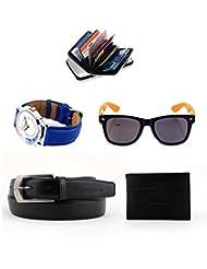 Combo Of Elligator Self Textured Black Belt,Cardholder,Red Wallet,Lotto Sunglass & Watch