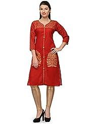 Aadhunik Libaas Red Block Cotton Printed Kurta Long Top For Women Girls