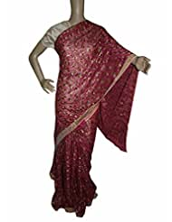 Beautiful RUDA Designer Phulkari Embroidered Saree-JS1103