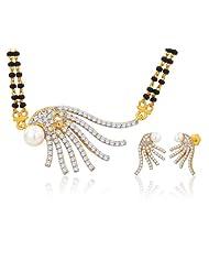 "Peora 18 Karat Gold Plated Cubic Zirconia Pearl ""Anshula"" Mangalsutra Earrings Set (PM26GJ)"