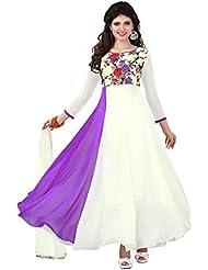 Surat Tex Purple & Cream Color Party Wear Digital Printed Georgette Semi-Stitched Anarkali Suit-I8DL206