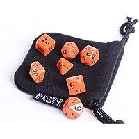 Orange Opaque Polyhedral Dice Set | 7 Piece | Pristine Edition | Free Dice Bag | Hand Checked Quality | Money...