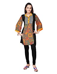 ADS Womens Digital Print Black Kurti/Tunic