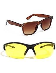 New Stylish UV Protected Combo Pack Of Sunglasses For Women / Girl ( BrownWayfarer-YellowNightVision ) ( CM-SUN...
