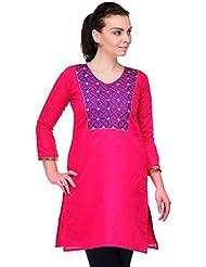 AngelFab Pink Color Cotton Fabric Women's Straight Kurti - B01LEUYN0M