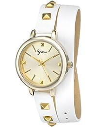 Geneva Women's 2401A-GEN Gold-Tone Watch With White Wraparound Faux-Leather Strap