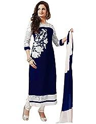 Blue Semi Stitched Georgette Straight Cut Salwar Suit