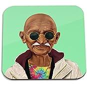 Mahatma Gandhi Wooden Coaster - Pop Art Modern Contemporary Decorative Art Coaster, Hipstory Project By Amit Shimoni...