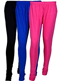 Cotton Leggings (Culture The Dignity Women's Cotton Leggings Combo Of 3_CTDCL_BB1M1_BLACK-BLUE-MAGENTA_FREESIZE)