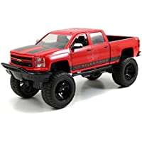 2014 Chevrolet Silverado Pickup Truck Red With Black Off Road 1/24 By Jada 97477