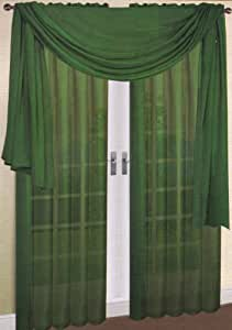 hunter green kitchen curtains 2 solid green sheer curtains fully stitched 4384