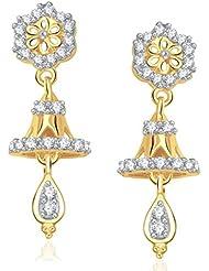 VK Jewels Floral Gold And Rhodium Plated Jhumki For Women -ER1203G [VKER1203G]
