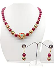 Bling N Beads Gold Plated Ethnic Ruby Temple Jewellery Set With Earrings Diwali Gift For Her