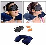 Krevia 3 In 1 Air Travel Kit Combo - Pillow , Ear Buds & Eye Mask(Assorted,Pillow - Flannelette , Ear Buds - Cotton...